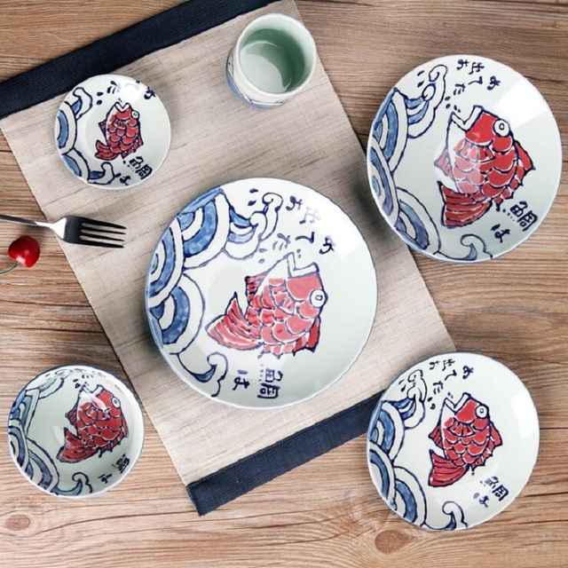 Ceramic Plates Painting Fish Pattern Dinnerware Flat Plates Dishes Pastry Cake Tray Party Plate Japanese Dishes & Ceramic Plates Painting Fish Pattern Dinnerware Flat Plates Dishes ...