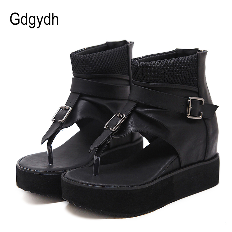 Gdgydh Cover Heels Platform Wedges Shoes For Women 2019 Summer High Heels Height Increasing Lades Sandals Flip Flop Punk Shoes