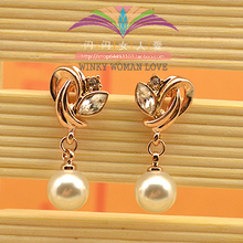 USTAR simulated pearl Austria Crystals Earring for women rose Gold color Flower Stud Earrings Jewelry brincos top quality