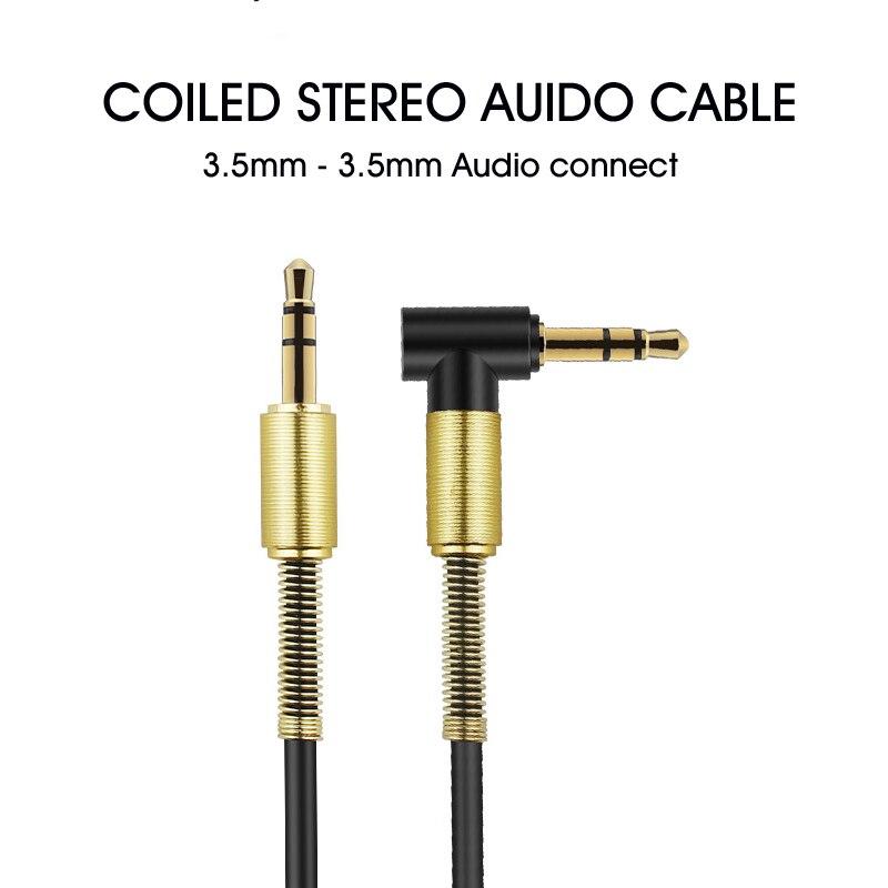 3.5mm AUX zwinięty kabel Audio Stereo w Przewody głośnikowe od Samochody i motocykle na