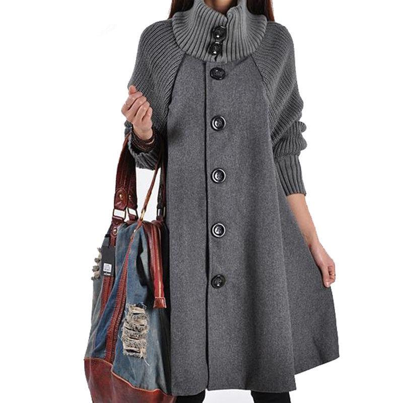 Autumn   Trench   Coat Women Casual Loose Warm Winter Plus Size Cloak   Trench   Coat Elegant Button Ladies Office Windbreaker Coat Q420