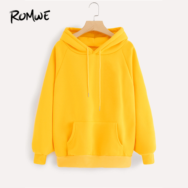 4f3d95c512f ROMWE Raglan Sleeve Kangaroo Pocket Drawstring Hoodie Women Yellow Hooded  Full Sleeve Spring Autumn Casual Plain Sweatshirt