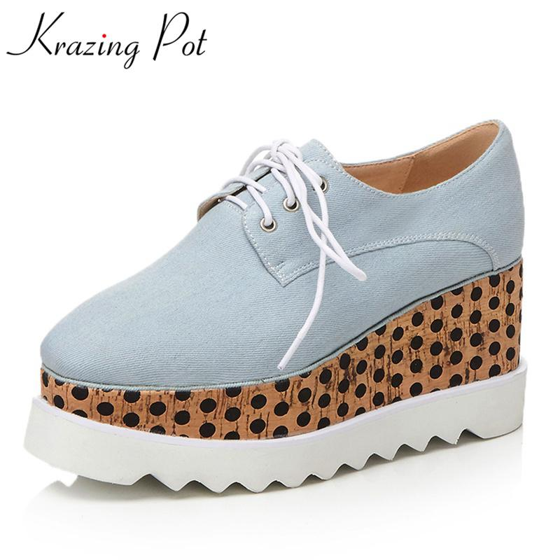 Фотография Krazing Pot brand shoe canvas superstar wedges sneaker increased lace up sneaker platform runway concise women casual shoes L