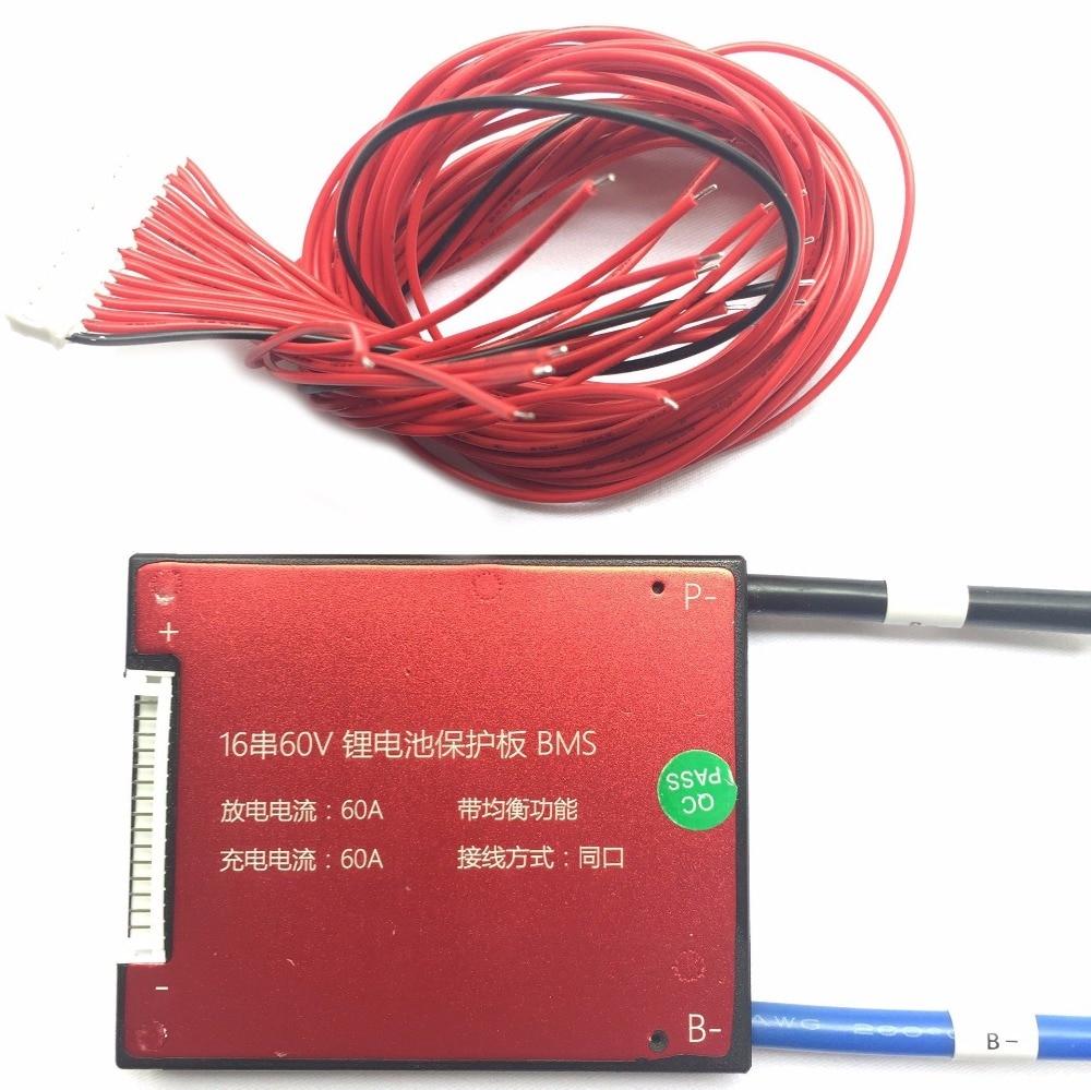 16S 60V 20A 25A 35A 45A 60A BMS PCM PCB for 18650 Lithium Battery Pack аккумулятор 18650 lg he4 high drain 2500mah 20a 35a