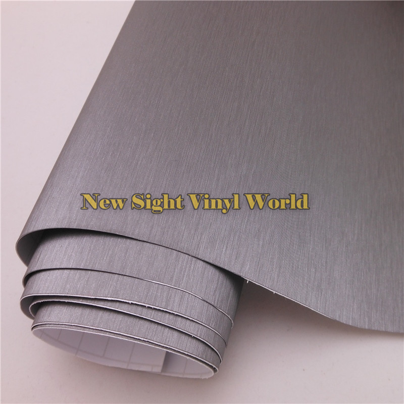 High Quality Gray Brushed Titanium Vinyl Wrap For Car Stickers With Air Bubble Free Size: 1.52*30M/Roll