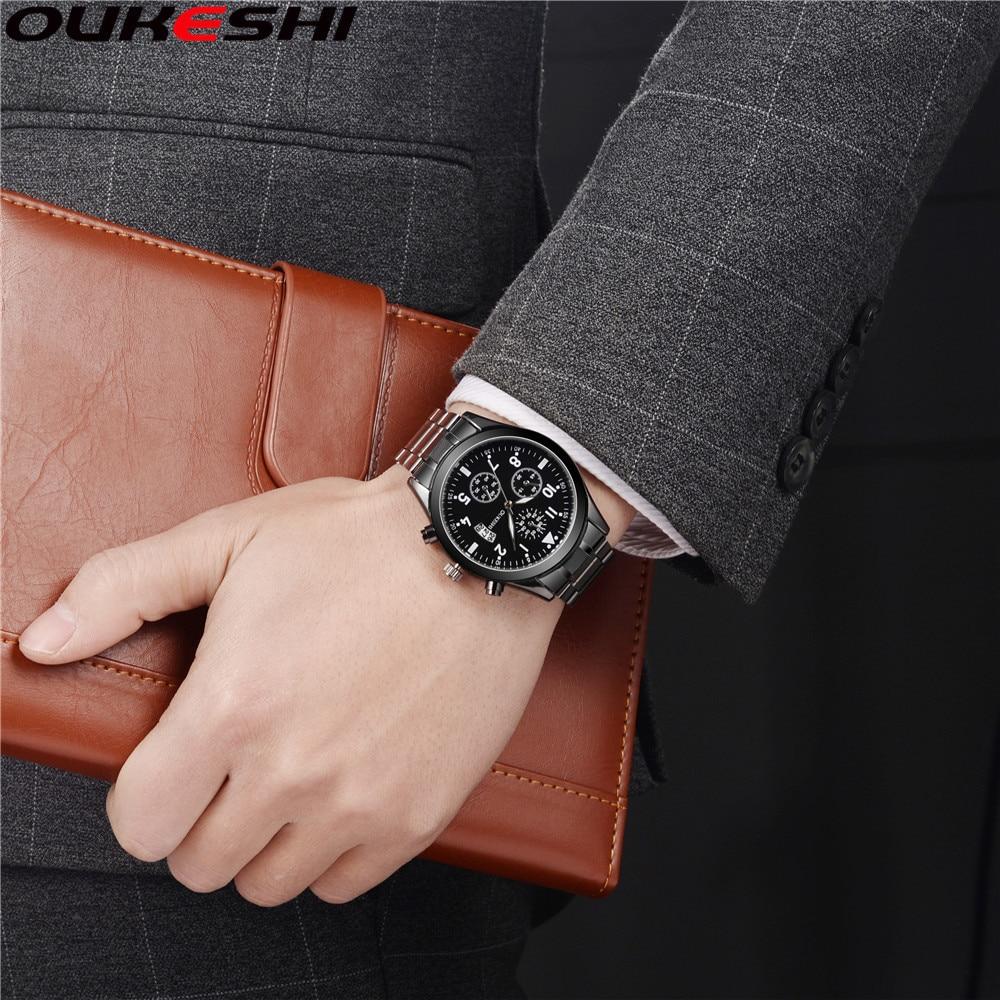 Oukeshi модный бренд Календари Бизнес Для мужчин Часы Повседневное Нержавеющаясталь Кварцевые наручные часы Relogio masculino часы Лидер продаж