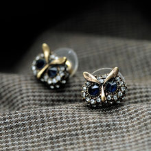 Women Fashion Vintage Lovely Blue Eyes Owl Stud Earrings Brincos Punk Retro Rhinestone Earrings Bijoux Jewelry Gift E5225(China)