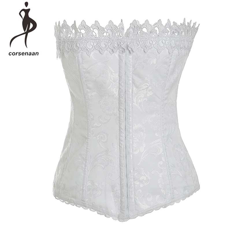 Hooks Closure White Women Jacquard Overbust Bridal Bustier Corset Lingrie Top With Suspenders 895#