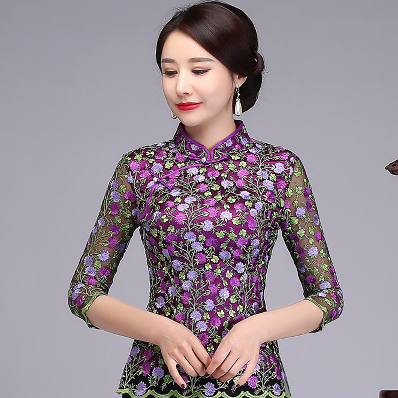 Three Quarter Sleeve Lace Embroidery Floral Shirt Chinese Novelty Women Purple Tops Spring New Mandarin Collar Blouse M-4XL Рубашка