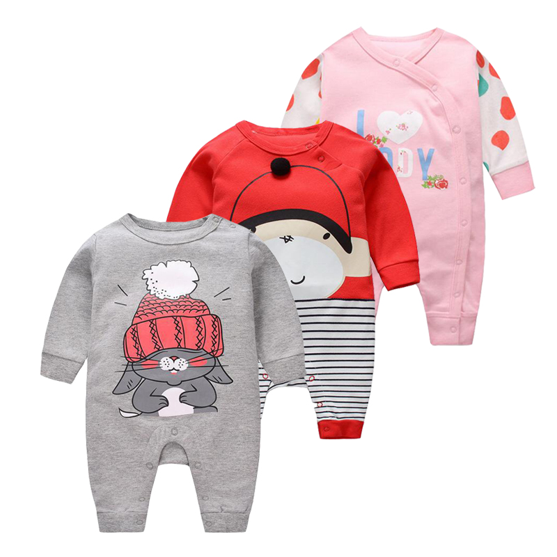 2018 Baby girls Clothes cute Cartoon Newborn girls Long Sleeve  baby Rompers baby Boys Clothes roupas de  infantil costumes