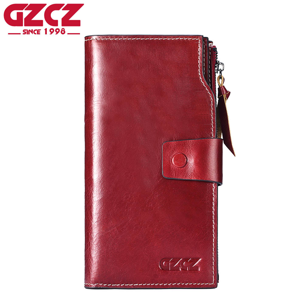GZCZ Genuine Leather Slim Wallet Coin Purse Women Walet Female zipper Card Holder Long Vallet Clutch Portomonee Red clutch Handy luxury leather zipper women long slim wallet ladies handbag clutch card money coin phone holder portomonee female wristlet clip