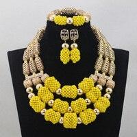 2017 Gorgeous Yellow African Fashion Jewellery Sets Gold Dubai Wedding Bridal Crystal Bead Jewelry Set Hot Free ShppingABL837