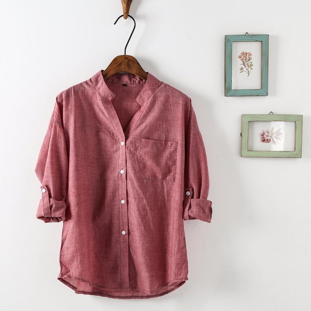 Dioufond Ljeto V-izrez Pamuk Tanke Žene Košulje Tri Četvrt Ženski - Ženska odjeća - Foto 3