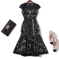 Women fashion sexy hollow out black lace dress gothic style short sleeve plus size XXL mermaid dresses new 2018 summer female