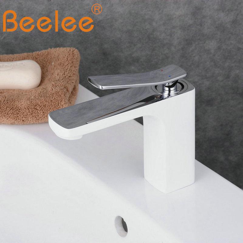Beelee Bathroom Faucet Mixer Single Handle Single Hole Basin Faucet vessel Faucet Mono Basin Mixer Tap Painting White BL6601CWBeelee Bathroom Faucet Mixer Single Handle Single Hole Basin Faucet vessel Faucet Mono Basin Mixer Tap Painting White BL6601CW