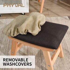 Image 3 - Drewno pufa Nordic stołek prosty otomana do salonu mebelki dziecięce podnóżek z tkaniny