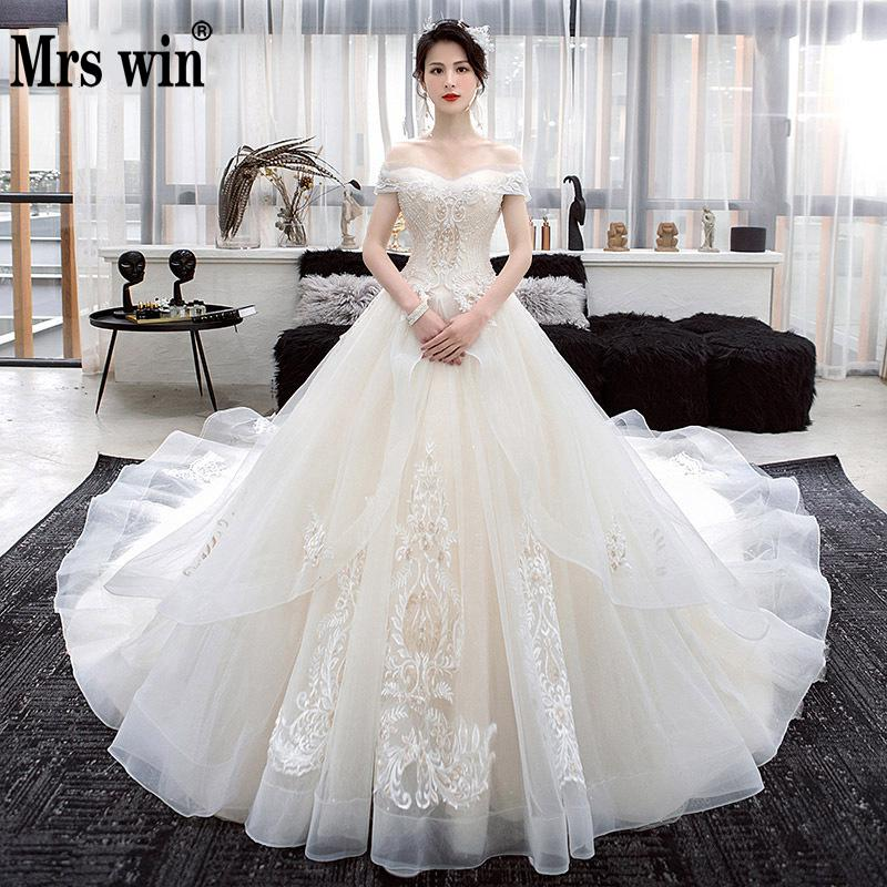 Wedding Dress 2020 Mrs Win Elegant Boat Neck Sweep Trian Princess Luxury Beading Vestido De Noiva Noble Robe De Mariee F