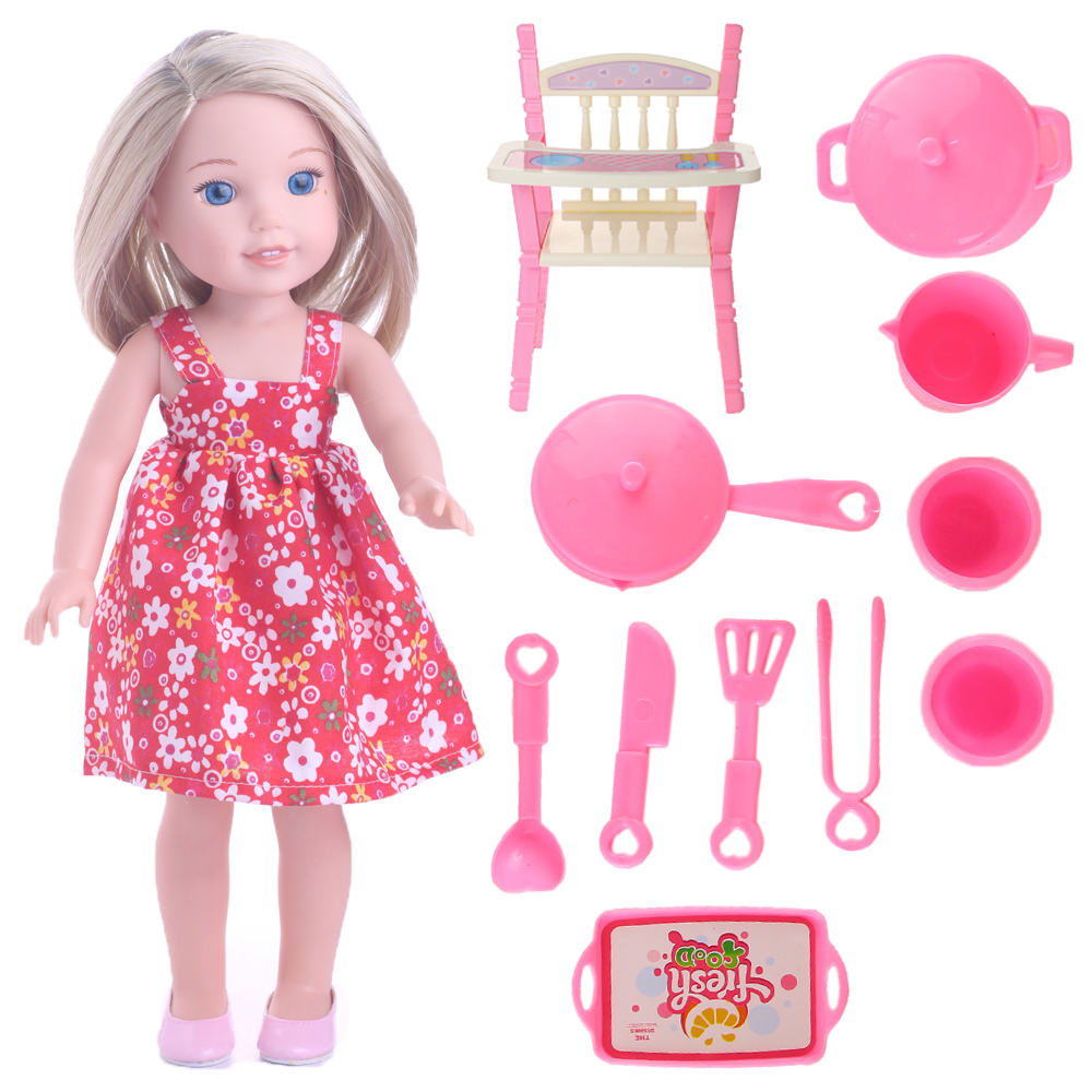 Children eat sit stool High stool+The whole set of utensils for 14.5 inch Wellie Wisher doll,Doll accessories