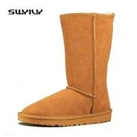 المرأة الشتاء الأحذية الشقق جلد طبيعي الخريف الشتاء الثلوج أحذية عالية الصوف الفراء الدافئ الأحذية sapatos الملونة زائد الاتحاد 35-44