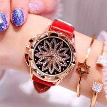 Rose Gold Women Watches Fashion Casual Crystal Diamond Dress Wristwatch Red Leather Strap Luxury Brand Quartz Watch Female Clock sinobi 2018 new colorful diamond watch women golden dress geneva clock luxury brand leather strap lady fashion quartz watches