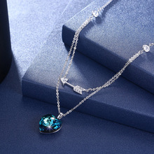 Real 925 Sterling Silver Uses Austria Crystal Necklace, Silver, Love Shaped Folded Collar Necklace.