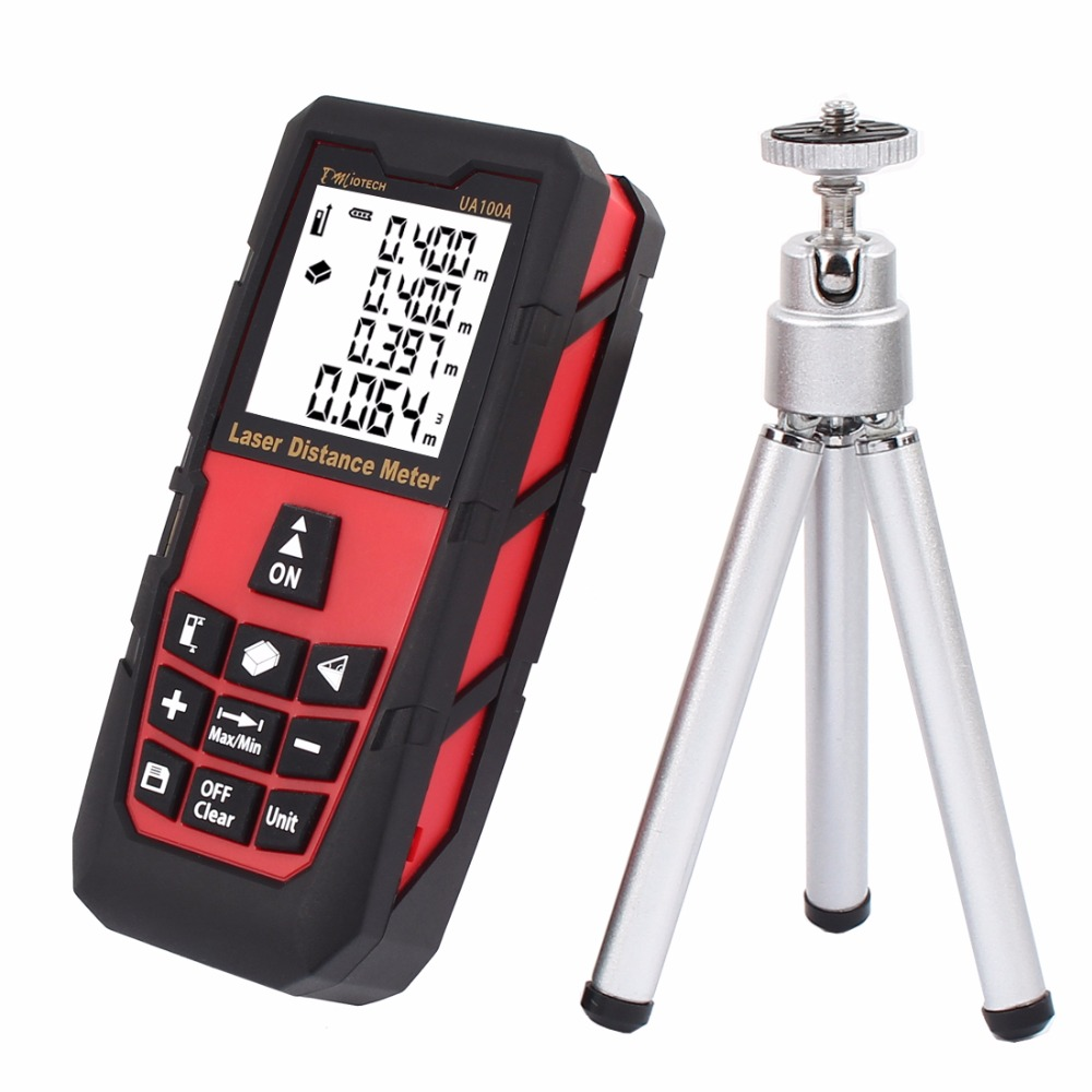 328ft/ 100m Hand Mini Portable Laser Measure Distance Meter Rangefinder Digital Laser Tape Range Finder Diastimeter with Tripod