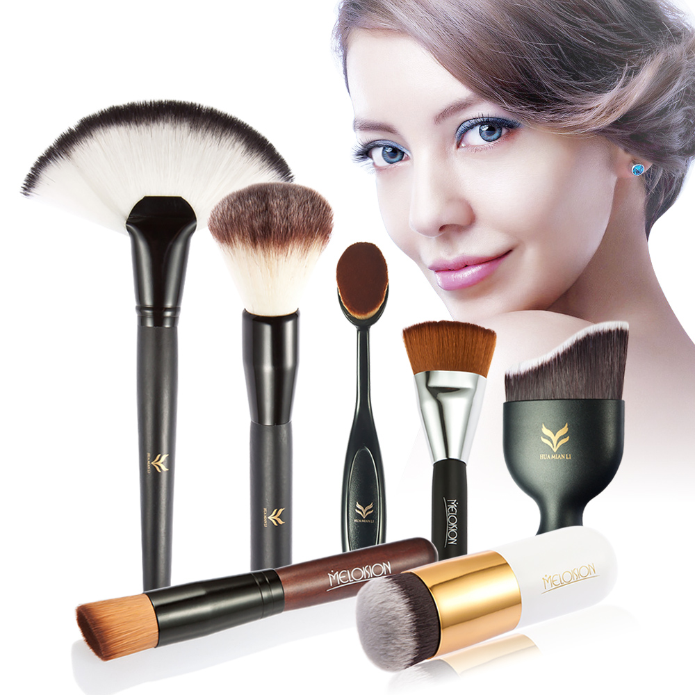 HUAMIANLI 7pcs Oval Makeup Brush Cosmetic Blush Powder Eyeshadow Foundation Blush brush Toothbrush Makeup Brush Sets Tools
