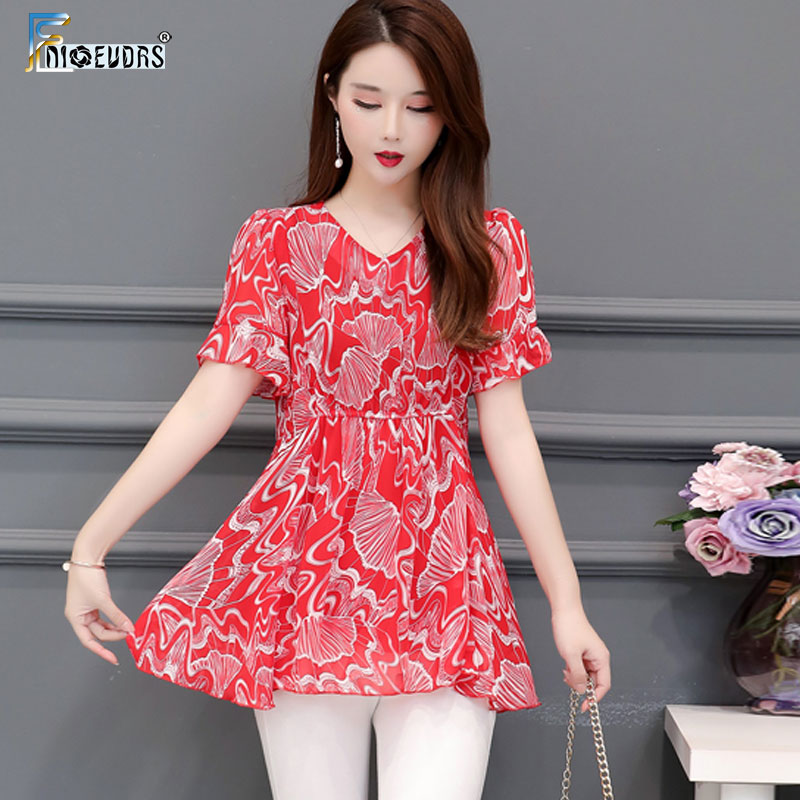 Tunic Chiffon Blouse Shirt Plus Size Clothes Woman Fashion European Style Design Peplum Top Belly Design Floral Print Shirt J714