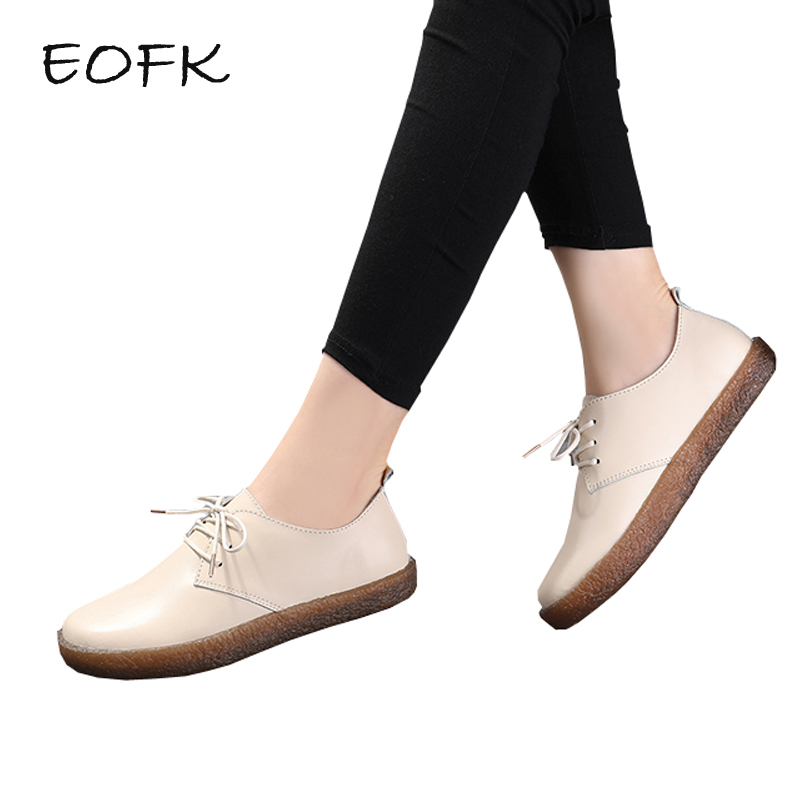 EOFK Women Flat Shoes Woman Spring Autumn Women's Shoes Leather Lace Up Concise Soft Casual Flats New High Quality Ladies Shoes odetina 2017 new designer lace up ballerina flats fashion women spring pointed toe shoes ladies cross straps soft flats non slip