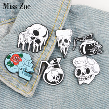 Gothic Skeleton enamel pin Rose Skull Coffee Pot Pizza badge brooch Lapel pin Denim Jeans shirt bag Cool Jewelry Gift for friend(China)