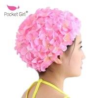 포켓 소녀 꽃잎 수영 모자 레이디 긴 머리 아름다운 3D 꽃 수영 모자 여성 아름다운 꽃 여자 수영 캡 모자