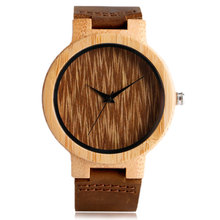 Creative Bamboo Wrist Watch Novel Genuine Leather Band Trendy Nature Wood Strap Minimalist Women Analog Men Bangle Simple Gift