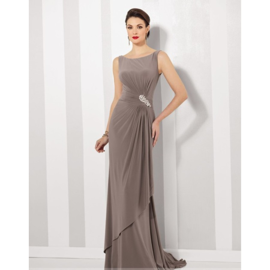 4bed57f45411cc Boat Neck Sleeveless Long Evening Gown Simple Design Cheap Formal Party Gown  Straight Floor Length Elegant Mother Dress-in Evening Dresses from Weddings  ...