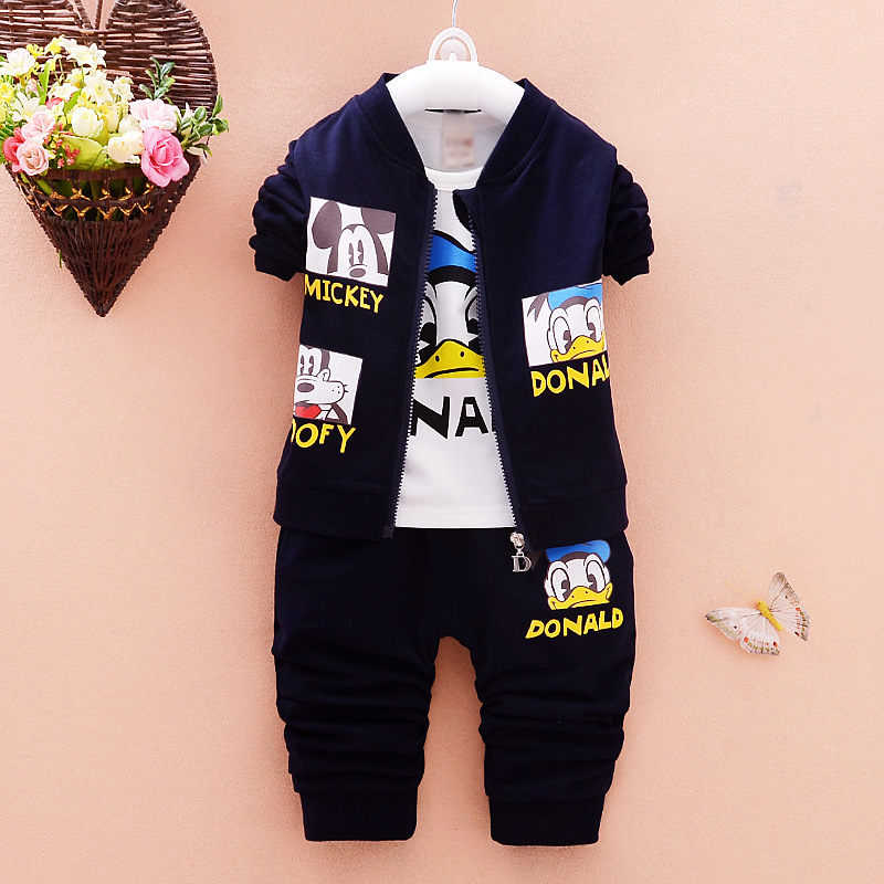 Tshirt Pants 3 piece Suit Kids Clothes Set Gift for Baby New Boys Girls Clothing Sets Spring Autumn Cartoon Cotton Children Coat 2016 hot children clothing set baby girls boys autumn spring suit hoodies pants cartoon clothes kids sportswear kids clothes