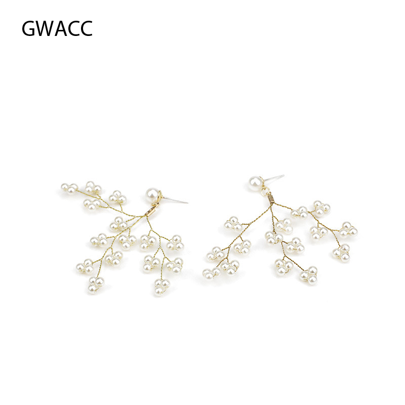Gwacc Branch Pearl Earrings Vintage Drop Earrings For Women Grape String Design Long Tassel Exaggerated Earrings Fashion Jewelry Pure Whiteness Earrings