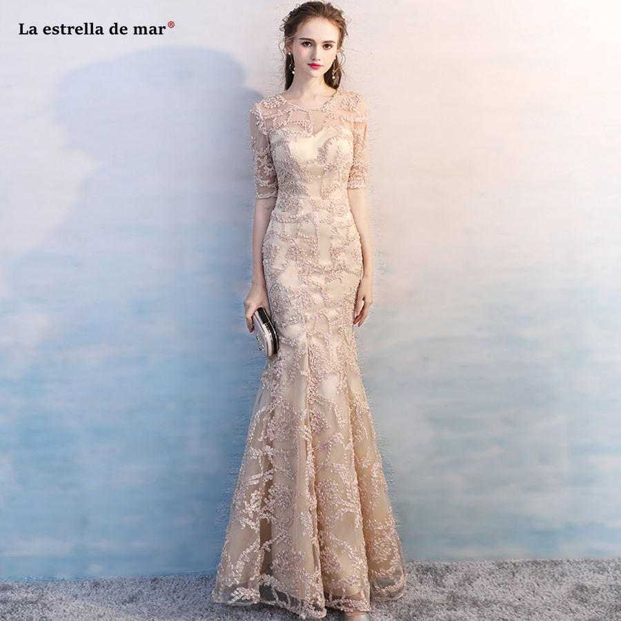 Robe demoiselle d'honneur 2018 new lace embroidered Scoop collar half sleeve champagne sexy mermaid   bridesmaids     dresses   long
