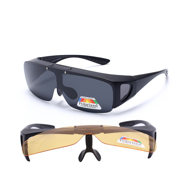 e562c9f74c Vazrobe Clip on Sunglasses Men Women Polarized Day Night Driving Fit Over  Glasses Prescription Eyeglasses Frame
