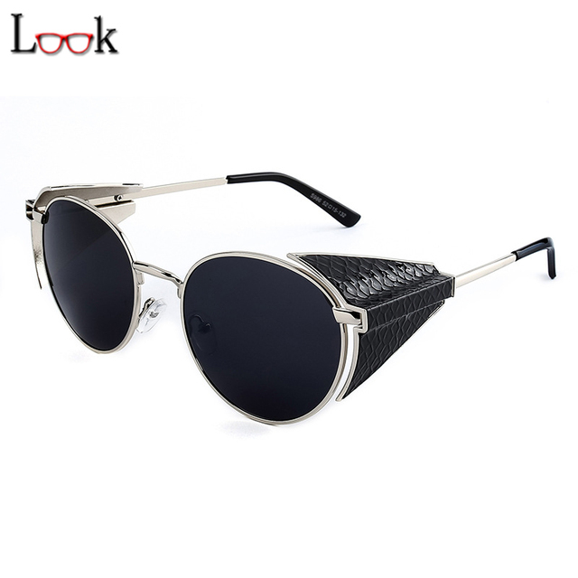 New Fashion 2017 Steampunk Sunglasses Retro Metal Sun Glasses For Women Men Brand Designer Oculos Gafas De Sol Steampunk Goggles