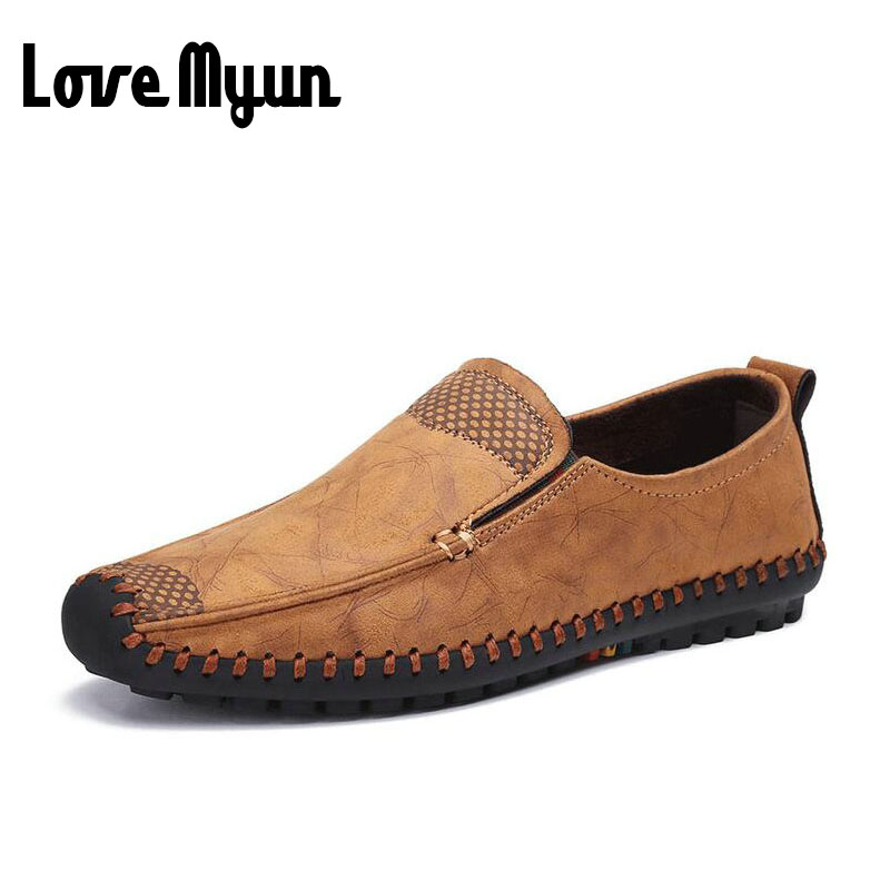2017 brand new spring Middle-aged men Loafers Slip-On flats soft leather shoes men Breathable casual dad Driving shoes AE-01 2017 new fashion summer spring men driving shoes loafers real leather boat shoes breathable male casual flats