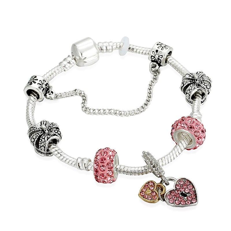 Fashion Crystal Heart Key Charm Pandora Bracelets & Bangles Silver Plated Bracelets For Women Jewellery Pulseira Feminina