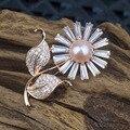 Aaa Cubic Zirconia Prong definir girassol broches para as mulheres de água doce pérola jóias elegante bonito broches