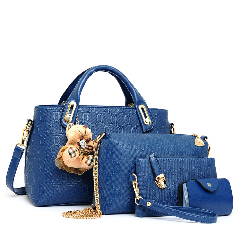 ФОТО LIANGKA women Leather Crossbody bag four-piece suit handbags casual ladies Composite bag PU Shoulder Bag Zipper