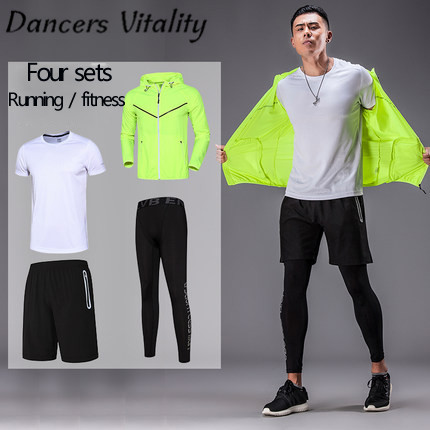 4 Pieces Mens Sports Suits Running Clothes For Men Short Compression Tights Gym Fitness T Shirt Cropped Pants Quick Dry Sets mens quick dry breathable fitness tees casual bodybuilding running short sleeve t shirts