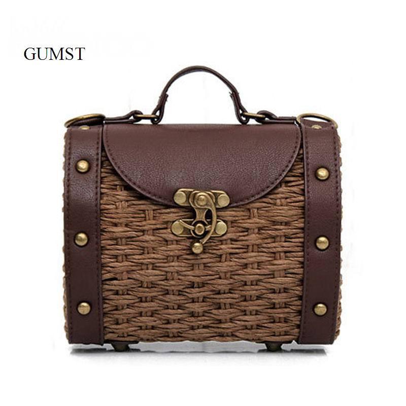 2017 New Fashion Women Handbags Vintage Handmade Straw Bag PU Leather Women Handbags Mini Lady Grass Weaving Bag Shoulder Bags