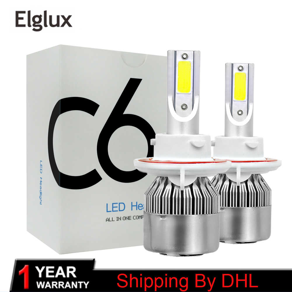 2pcs/Pair Led H4 8000lm 72w c6 Led Lights Headlight Bulbs Auto H4 6000k Led Super White Turbo Hi Low Beam Headlight Lamp Bulbs