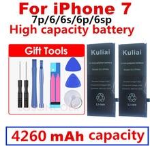 Nouvelle batterie de téléphone de qualité dorigine Kuliai AAAAA pour iphone 6 6s 6sp 6 P 7 7 p haute capacité réelle zéro Cycel avec Kit doutils de réparation