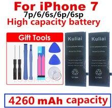 ใหม่ Original Kuliai AAAAA คุณภาพแบตเตอรี่สำหรับ iphone 6 6s 6sp 6 P 7 7 p ความจุจริง Zero Cycel ด้วยซ่อมชุดเครื่องมือ