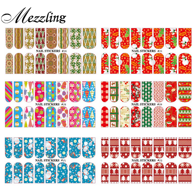 Water Nail Stickers,5sheets/lot Full Cover Transferable Nail Wraps Decals,  Christmas Designed DIY Beauty Nail Decoration Tools