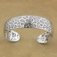 999 Sterling Silver Flower Charm Blessing Bracelet Bangle 9A016
