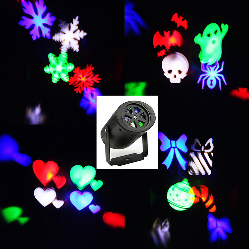 Laser Projector Lamps LED Stage Light Heart Snow Spider Bowknot Bat Christmas Party Landscape Light Garden Lamp Outdoor Lighting 4w snow love kaleidoscope led stage lamp light logo light